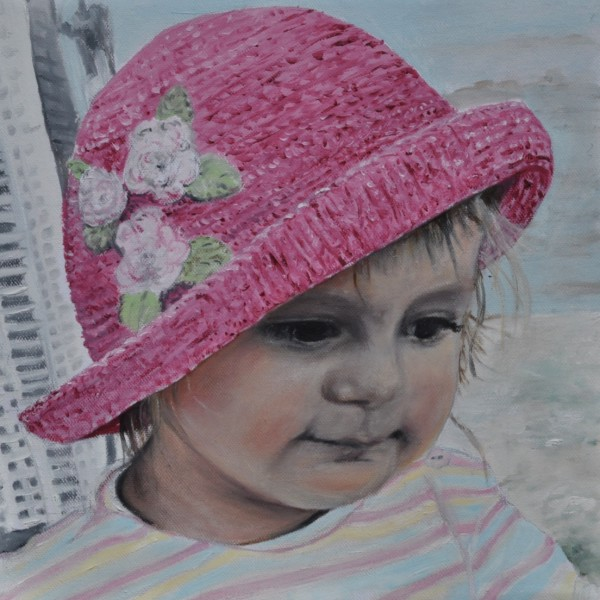 Marie am Strand mit Hut, Gemälde